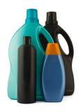 Quatro frascos plásticos fotografia de stock