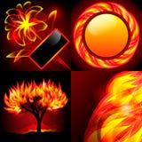 Quatro fundos abstratos da flama Ilustração Stock
