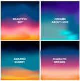 Quatro fundos bonitos Os contextos abstratos borrados gostam do nascer do sol, do por do sol ou de céu surpreendente ilustração do vetor
