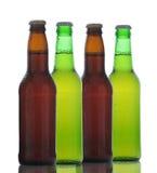 Quatro garrafas de cerveja Fotos de Stock Royalty Free