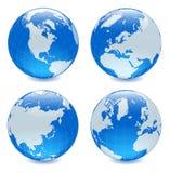 Quatro globos brilhantes laterais ilustração stock