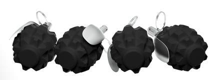 Quatro granadas fragmentariamente em um fundo branco Fotografia de Stock Royalty Free