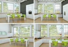 Quatro ideias do design de interiores da sala de jantar no apartamento moderno Fotografia de Stock Royalty Free