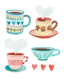 Quatro ilustrações simples dos copos do sueco fotos de stock royalty free