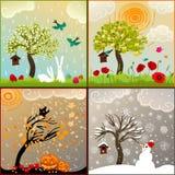 Quatro ilustrações temáticos das estações ajustaram-se com árvore de maçã, aviário e arredores Foto de Stock Royalty Free