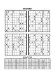 Quatro jogos do sudoku com respostas Grupo 12 ilustração royalty free
