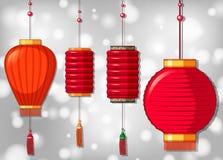 Quatro lanternas chinesas em projetos diferentes Imagens de Stock Royalty Free