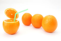 Quatro laranjas do jucy no branco Fotografia de Stock
