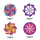 Quatro logotipos diferentes nas formas Imagem de Stock