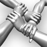 Quatro mãos Imagens de Stock