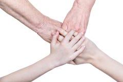 Quatro mãos da família Imagens de Stock