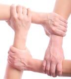 Quatro mãos do mens Fotografia de Stock Royalty Free