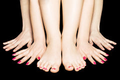 Quatro mãos e dois pés Imagens de Stock