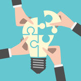 Quatro mãos que constroem a ideia Imagem de Stock Royalty Free