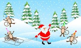 Quatro macacos engraçados e Santa Claus na floresta do inverno ilustração do vetor