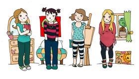 Quatro meninas Imagem de Stock