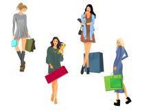 Quatro meninas com sacos Foto de Stock