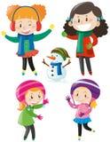 Quatro meninas na roupa colorida do inverno ilustração stock
