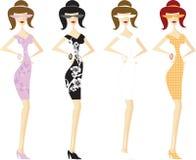 Quatro meninas no vetor curto dos vestidos Imagens de Stock Royalty Free