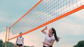 Quatro meninas que jogam o voleibol na praia Voleibol de praia, rede, mulheres nos biquinis Ilustra??o lisa dos desenhos animados filme