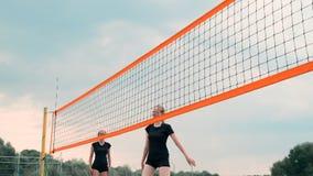 Quatro meninas que jogam o voleibol na praia Voleibol de praia, rede, mulheres nos biquinis Ilustra??o lisa dos desenhos animados vídeos de arquivo