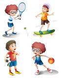 Quatro meninos que executam esportes diferentes Imagem de Stock