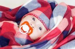 Quatro-meses bonitos do bebê com chupeta Imagens de Stock Royalty Free