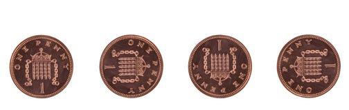 Quatro moedas de um centavo Foto de Stock Royalty Free
