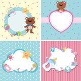 Quatro moldes do fundo com tema do bebê Imagem de Stock Royalty Free