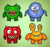 Grupo de uma variação engraçada 2 de quatro monstro Fotos de Stock Royalty Free