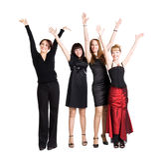 Quatro mulheres felizes foto de stock royalty free