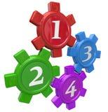 Quatro números dos elementos dos princípios do processo 4 do procedimento das etapas das engrenagens ilustração royalty free