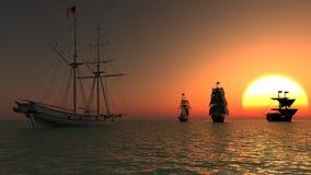 Quatro navios de navigação e um por do sol no fundo Imagem de Stock
