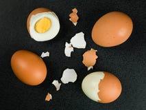 Quatro ovos cozidos duros frescos Fotos de Stock Royalty Free
