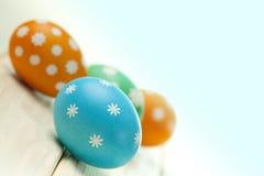 Quatro ovos da páscoa coloridos Fotos de Stock Royalty Free