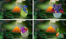 Quatro ovos de choque dos dragões na floresta ilustração do vetor