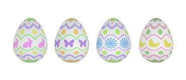 Quatro ovos de Easter modelados no fundo branco Imagem de Stock