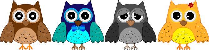 quatro pássaro pequeno, coruja, coruja pequena, ícone ilustração royalty free