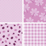 Quatro papéis de parede sem emenda roxos Fotos de Stock Royalty Free