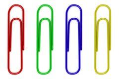Quatro paperclips da cor isolados no branco Fotografia de Stock
