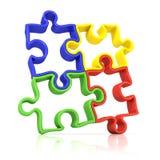 Quatro partes esboçadas coloridas do enigma de serra de vaivém, unidas Fotos de Stock