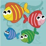 Quatro peixes felizes ilustração stock