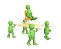 Quatro pessoas 3d, carreg o chefe em um esticador Imagem de Stock Royalty Free