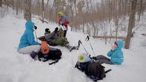 Quatro pessoas estão descansando durante o inverno que trekking na floresta, encontrando-se na neve e verificando trouxas video estoque