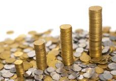 Quatro pilhas de dinheiro Imagem de Stock Royalty Free