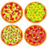 Quatro pizzas Imagem de Stock