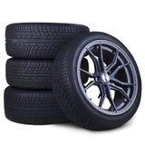 Quatro pneus de competência isolados fotografia de stock