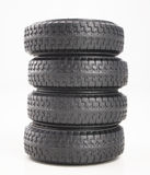 Quatro pneus isolados no fundo branco foto de stock