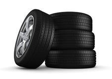 Quatro pneus isolaram o close-up ilustração stock