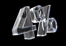 Quatro por cento no vidro (3D) Fotografia de Stock Royalty Free